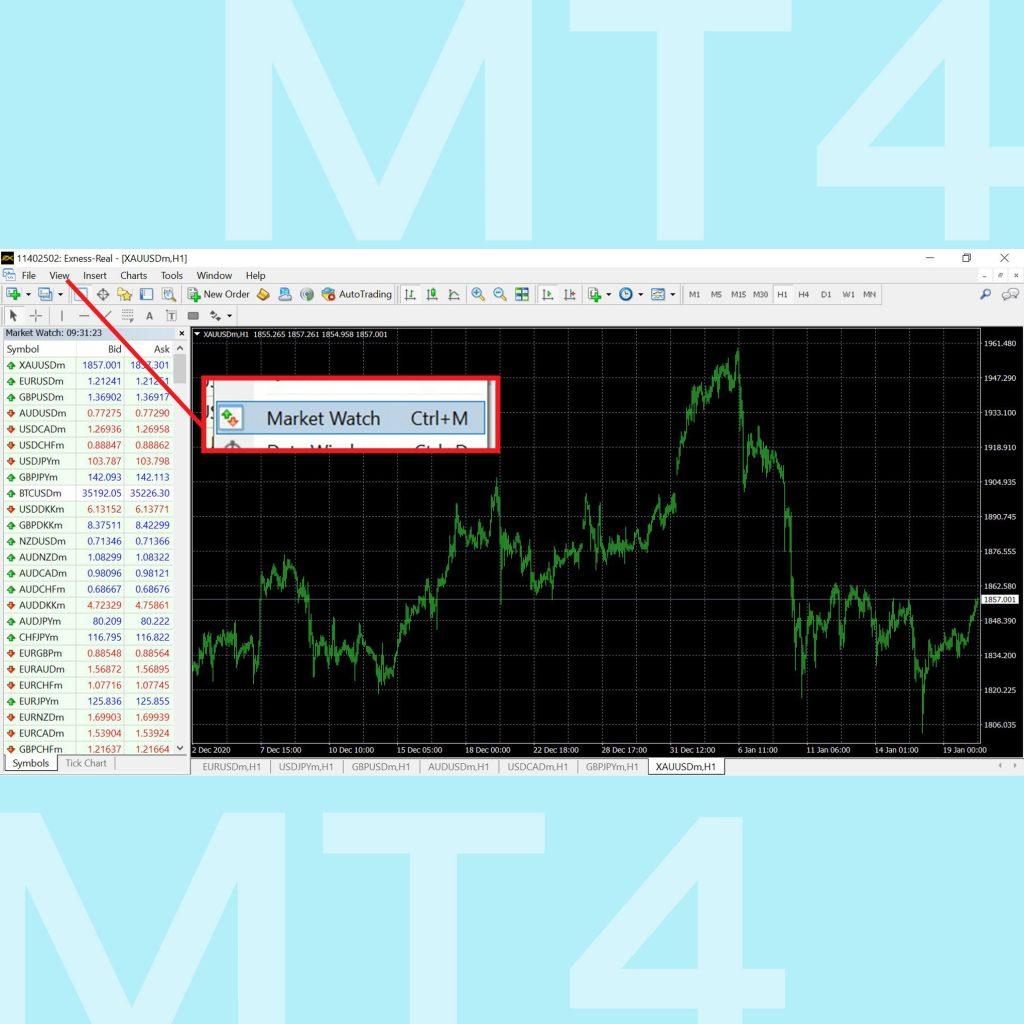 โปรแกรม MT4 Meta Trader 4 คู่มือการใช้งาน MT4 เทรด forex เมนู Market watch Menu Goo Invest